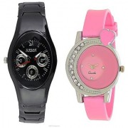 Rosra Black Men and One Side Diamond Pink Women Watches Couple For Men and Women