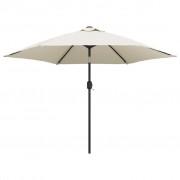 vidaXL Frihängande LED-parasoll 3 m sandvitt