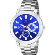 True Colors Round Blue Dial Silver Stainless Steel Strap Analog Watch For Men
