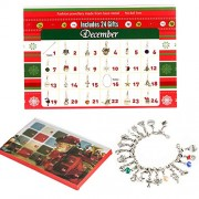 Zhuofu Advent Calendar Diy Bracelet Necklace Set with 22 Charms Fashion Jewelry Countdown Calendars for Kids Christmas Theme Gifts