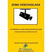 Cartel Zona Videovigilada A4 Aluminio