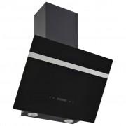 vidaXL Стенен абсорбатор, 60 см, инокс и закалено стъкло, черен