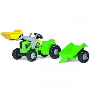Traktor na pedale Rolly Toys RollyKiddy Futura sa prikolicom i utovarivačem zeleni 630035