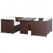 vidaXL 11 piese Set mobilier de grădină, maro, poliratan