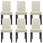 [en.casa]® 6 sillas tapizadas (crema) (alta calidad) con patas de madera maciza / piel sintética / elegante / Set ahorro