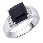 PeenZone 92.5 Silver Square Black Stone Ring For Unsex