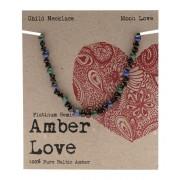 Baltic Amber Children's Necklace - Moon Love 33cm