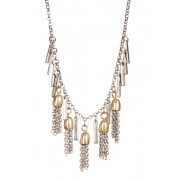 Melrose and Market Two-Tone Short Tassel Necklace RHODIUMGOLD