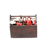 BESTLEE 1:12 Miniature Wooden Tool Box with 8Pcs Metal Tools Set