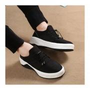 Suela Gruesa Zapatos De Deportes De Los Hombres Tenis Tejido Elástico De Lycra Casual -Negro