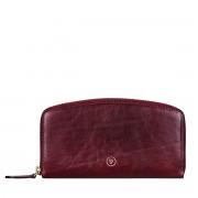 Maxwell-Scott schlanke Damen Leder Geldbörse mit Reißverschluss in Weinrot - Ponticelli - Brieftasche, Portemonnaie, Geldbeutel, Kreditkartenetui