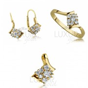 Luxusní zlatý set - zlatá mohutná souprava se zirkony (prsten,náušnice,přívěsek)