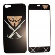 Folie protectie cu design iPhone 4/4s - Sword and mask ( fata + spate )