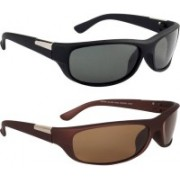 Rich Club Wrap-around, Sports Sunglasses(Black, Brown)