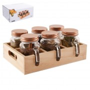 Set condimente cu suport lemn - 6 recipiente tip cana cu maner