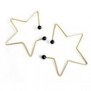Cercei handmade argint 925 Stars placati cu aur si perle Swarovski negre lungime 6cm