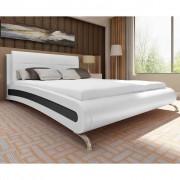 vidaXL Легло с матрак, 140 x 200 cм, изкуствена кожа, бяло/черно