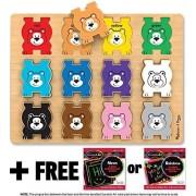 Bears Themed Stacking Chunky Puzzle + Free Melissa & Doug Scratch Art Mini Pad Bundle [90278]