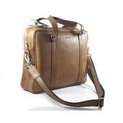 Skórzana torba na ramię A4, na laptopa, jasny brąz