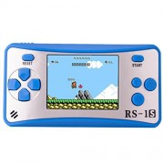 Bornkid Kids Handheld Game Console Retro Video Player Portable Arcade Gaming System Birthday for Children Travel Recreation 2.5 Color LCD Screen 16 Bit 168 Classic Games(Blue Silver)