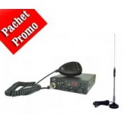 Pachet statie radio auto CB PNI Escort HP 8001 ASQ + casti cu microfon + Antena CB Midland 18-244M, lungime 66cm + baza magnetica