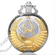 VAWAA Retro URSS Soviet insignias Sickle Hammer estilo cuarzo bolsillo reloj CCCP Rusia emblema comunídis unisex collar cadena horas reloj