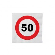 Merkloos 32x 50 jaar leeftijd themafeest servetten verkeersbord 33 cm ron - Feestservetten