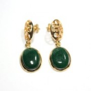 Semi Earring Jewelry Gold Plated with Green Quartz Stone
