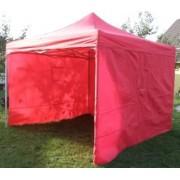 Párty stan DELUXE nožnicový + bočné steny - 3 x 3 m červená