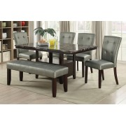 6 pc Arenth II collection espresso finish wood faux marble top dining table set with bench