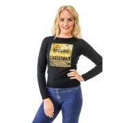 Geen Kersttrui pailletten dames Merry Christmas/Happy New Year