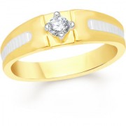 VK Jewels Single Stone Gold and Rhodium Plated Alloy Ring for Men Made With Cubic Zirconia - FR2084G [VKFR2084G18]