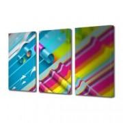 Tablou Canvas Premium Abstract Multicolor Dungi Multicolore Decoratiuni Moderne pentru Casa 3 x 70 x 100 cm