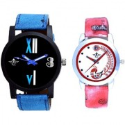 Fancy Number Black Dial And Red Peacock Couple Analogue Watch By Vivah Mart