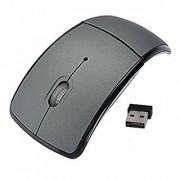 tecmac New Folding Mini Wireless Mouse 2.4GHz Arc Optical with USB Receiver-Grey