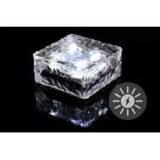 Kerti napelemes világítás - üveg kocka 9,5 x 9,5 x 4,5 cm