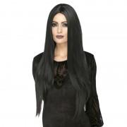 Smiffys Zwarte lange luxe heksen/gothic pruik voor dames