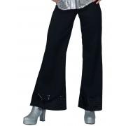 Calças disco pretas com lantejoulas na extremidade mulher - Médio