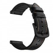 Genuine Leather Coated Silicone Smart Watch Band for Samsung Gear S3 Classic/Frontier - Black