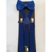 Комплект за сватба и бал тиранти и папионка в кралско синьо