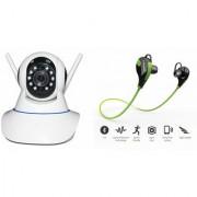 Zemini Wifi CCTV Camera and Jogger Bluetooth Headset for SAMSUNG GALAXY CORE MINI 4 G(Wifi CCTV Camera with night vision |Jogger Bluetooth Headset With Mic )