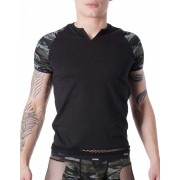 Lookme Army Sleeves Net Band Short Sleeved T Shirt Black 814-81
