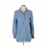 Liz Claiborne Long Sleeve Button Down Shirt: Blue Solid Tops - Size Small