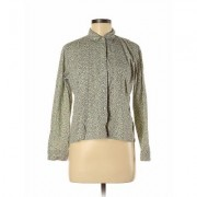 Liz Claiborne Long Sleeve Button Down Shirt: Green Print Tops - Size Medium Petite