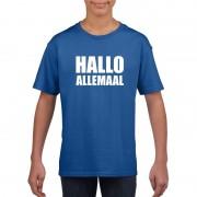 Bellatio Decorations Hallo allemaal tekst blauw t-shirt voor kinderen