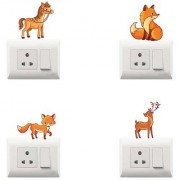 100yellow Animal Theme PVC Vinyl Decorative switch board sticker for Light Switches- Pack of 4