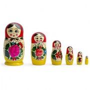 5.5 Set of 6 Semenov Wooden Russian Nesting Dolls - Matryoshka Stacking Nested Wood Dolls