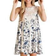 Vestido Casual E-Thinker mujer elegante de gasa costura y estampados de flor - Blanco