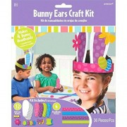 Amscan Egg-stra Special Easter Party Springtime Bunny Ears Accessory Craft Kit, Paper, Pack of 36