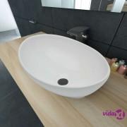 vidaXL Luksuzni keramički ovalni umivaonik bijeli 40 x 33 cm
